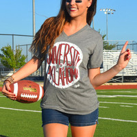 OU - University of Oklahoma- short sleeve v-neck
