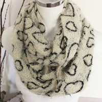 Infinity scarves, Ivory scarves, Heart infinity scarf, Furry winter scarves,  Extra measure infinity scarves, Christmas gift infinity scarf