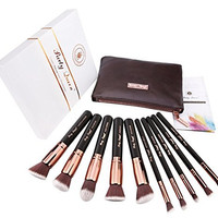 Party Queen Makeup Brush Set Classic 10Pcs Rose Golden Kabuki Brush with Luxury Pouch