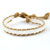 Vintage Style Friendship Weaving Leather Opal Bead Handmade Bracelet For Women