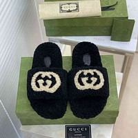 GG new autumn and winter furry slippers shoes