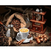 DIY PBN Arcylic Painting Coffee Pictures By Numbers On Canvas Framed Wall Pictures Art For Living Room Home Decoration