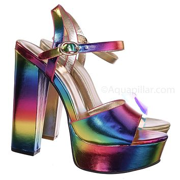 Tournament95 Chunky Block Heel Platform Sandal - In Rainbow & Clear Lucite