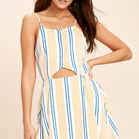 J.O.A. She's Like the Wind White Striped Skater Dress