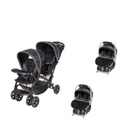Baby Trent Double Sit N Stand Twin Stroller Travel System with 2 Infant Car Seats, Onyx