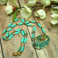 Green Verdigris Peace Pendant with Green Turquoise Chain Necklace OOAK