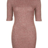 Ribbed Roll Neck Bodycon Dress - Berry Red