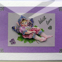 Fairy Hand-Crafted 3D Decoupage Card - With Love (1590)