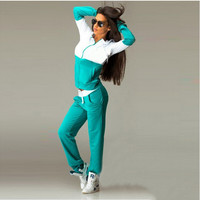 Color Block Long Sleeve Hooded Coat with Pants