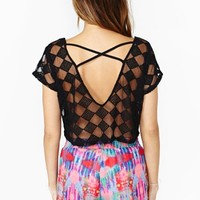 Nasty Gal Diamond Mesh Crop Top