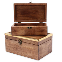 Kate and Laurel Ailey 2-Piece Trinket Box Set in Walnut Brown