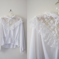 1800's White Chiffon Blouse - Victorian Style Fashion, Women's Blouse, White Lace, Dainty Blouse - small, medium.