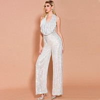 Sexy Silver Sequin Backless Jumpsuit