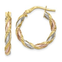 14K with White & Rose Rhodium Textured Twisted Hoop Earrings TH746