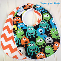 NEW - Gender Neutral Baby Bibs - Set of 2 Triple Layer Chenille - Monster Mash and Orange Chevron