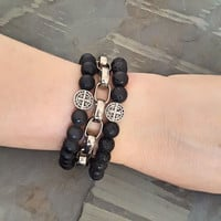 Black Onyx Bead Stretch Stack Bracelet Set with St Benedict Coin