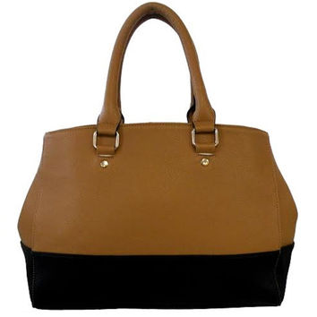 Two Tone Black & Brown Satchel Handbag