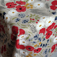 """Linen Tablecloth Natural Gray Daisies Poppies Cornflowers Flowers 58"""" x 114"""""""