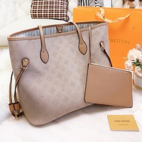 Louis Vuitton LV Popular Women Shopping Bag Leather Tote Handbag Shoulder Bag Purse Wallet Set Two-Piece