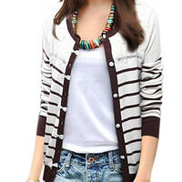 Brown and White Plus Size Stripe Long Sleeve Knitted Cardigan