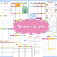 Printable Planner Bundle- Weekly Planner, Daily Planner, Monthly Calendar, Meal Planner, To Do Lists, Monthly Bill Tracker, 2016-2016 Plan