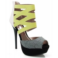 Qupid Dazzling-182 Peep Toe Caged Multi Color Strappy Platform Pump BLACK WHITE TEXTURED