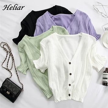 HELIAR T-shirts Women V-Neck Button Up Tees Short Sleeve Casual T-shirts Knitted Cadigans Crop Tops For Women 2021 Summer Tee