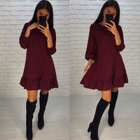 OYDDUP Spring 2018 Lady Solid Color Loose Dress O-neck 3/4 Lantern Sleeve Hem Ruffles Casual Dress Mini Vestidos