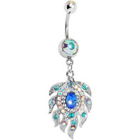 Aurora Double Gem Cubic Zirconia Peacock Feather Belly Ring | Body Candy Body Jewelry