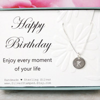 Birthday gift for friend Sterling silver tiny initial necklace gift for best friend, personalized gift for her, daughter, niece enjoy life
