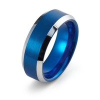 Blue Wedding Band Tungsten Carbide Mens Wedding Band Man Engagement Ring Male Wedding Ring Anniversary Promise Brushed 8mm Matching Blue Ring