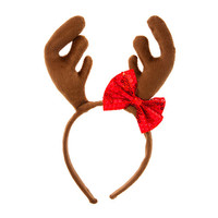 Reindeer Antlers Headband with Red Sequin Bow