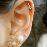 Dainty Sterling Silver Mini Infinity Cartilage or Tragus Stud Earring