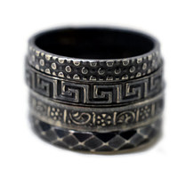 Set of Four, Black Silver Rings, Oxidized Stacking Rings, Stackable Rings, Patterned Rings, Sterling Silver