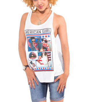"""""""American Girl"""" American Flag Netted Tank Top (White)"""