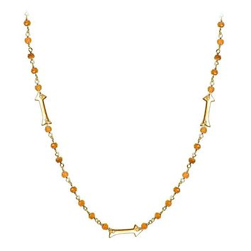 """CHG-203-CN-18"""" 18K Gold Overlay Necklace With Carnelian"""