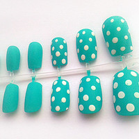 Mint Green Polka Dot Hand Painted Fake Nails, False Nails, Artificial Nail Set