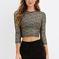 Metallic-Flecked Crop Top