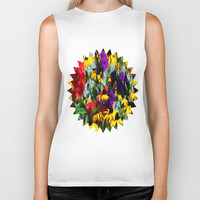 Colorful Patch Flowers Biker Tank by Deluxephotos