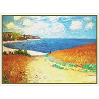 Path Through the Corn at Pourville inspired by Claude Monet's impressionist painting Counted Cross Stitch Pattern