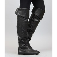 Qupid Proud-09 Foldable Over the Knee Faux Leather Round Toe Riding Boots