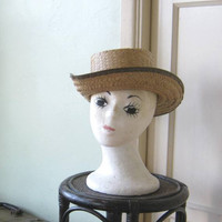 Small Vintage Straw Hat with Simple Grey Band; Latino/Tropical Style Summer Hat