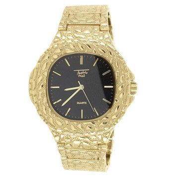 Men's Gold Tone Square Black Face Nugget Style Band Watch