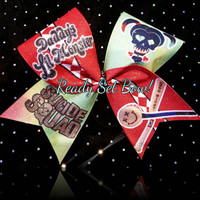 Daddy's Lil Monster - Harley Quinn -Suicide Squad Glitter Cheer Bow!