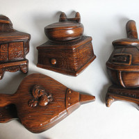 Wood and Pot Belly Stove, Coffee Grinder,  Bellow 4-Pc Vintage 1970s Kitchen Wall Decor Plaque Set, Chalkware Clay Ceramic
