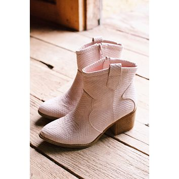Unite Snake Textured Western Bootie, Blush | Dirty Laundry