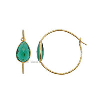 Hammered Silver Earrings, Green Quartz Micron Gold Plated 925 Sterling Silver Hoop Earring, 10x14mm- #1584