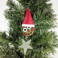 Christmas Owl Ornament Paper Quilling- quilled ornament, paper quilled owl, cute Christmas, Christmas ornament, Santa owl, Christmas in July