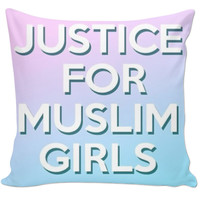 Justice For Muslim Girls Throw Pillow