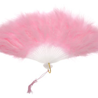 "11"" Pink Marabou Feather Hand Fan for Weddings"